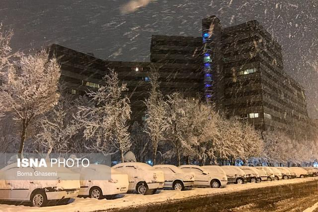 شروع بارش برف در بعضی مناطق تهران